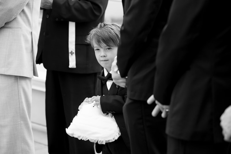 Wedding Photography, black and white of the ring bearer