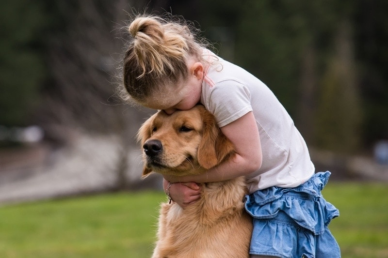 Family Photography, little girl hugging puppy