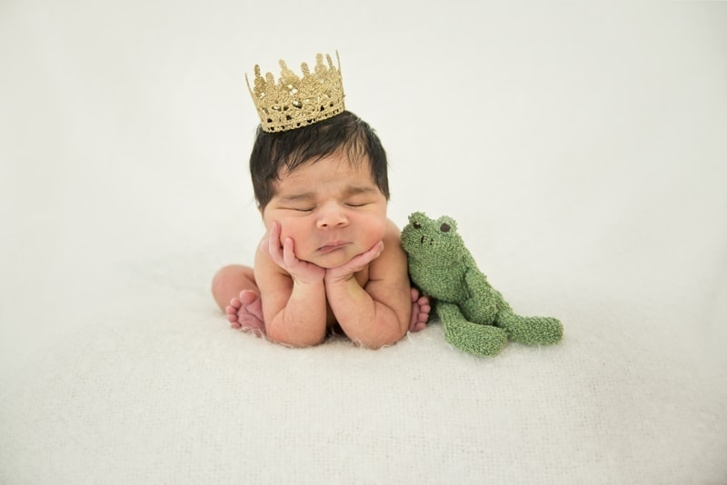 Baby Photography, sleeping baby propped up with a crown and stuffed frog