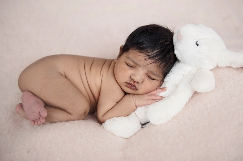 Baby Photography, baby asleep with stuffed bunny