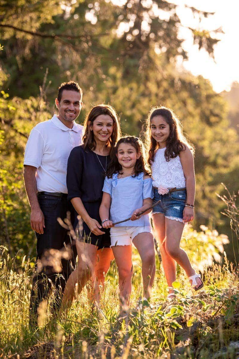Family Photography, family of 4 standing together in tall grass